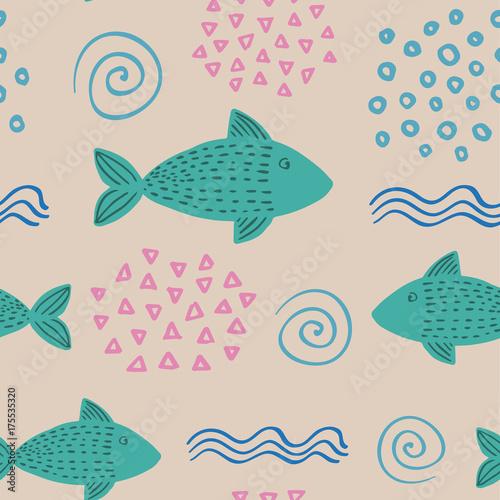 powielany-pociagany-recznie-prosty-wzor-w-skandynawskim-stylu-na-bezowym-tle-z-ryba-fala-i-skorupami-ilustracja-we