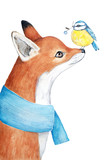 Scene of a cute fox in a blue scarf and a small tit bird sitting on the nose and holding a berry twig in a beak. Watercolor illustration isolated on a white background - 175542332
