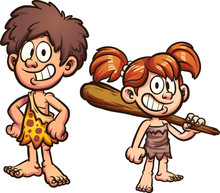 Cartoon Prehistoric Kids. Vect...