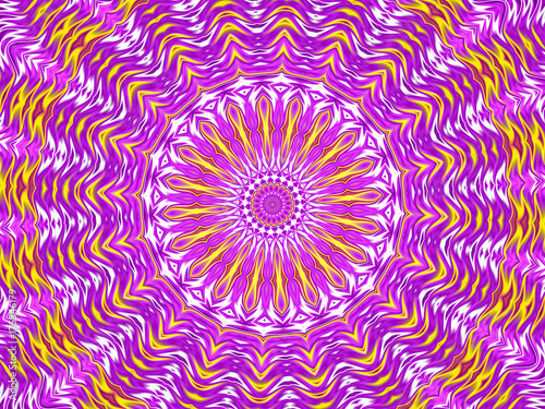 Fotografie, Obraz  Kaleidoscope Mandala in purple, white, and yellow
