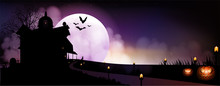 Halloween Pumpkins And Dark House On Full Moon Background, Vector And Illustration.