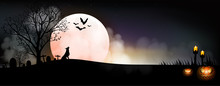 Halloween Pumpkins, Gravestone, Bat, Candle And Wolf On Full Moon Background, Vector And Illustration.