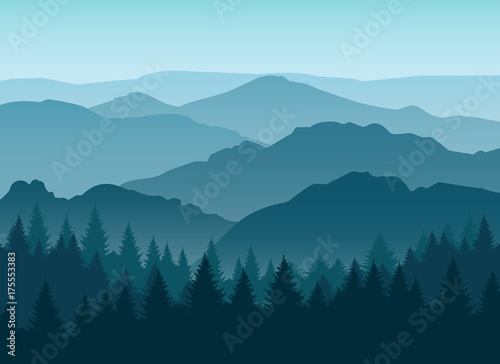 Foto Vector misty or smokey blue mountain silhouettes background