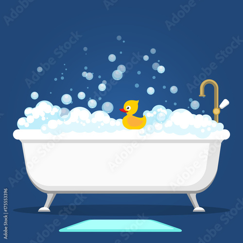 Bathtub Vector Illustration Relax Bathroom Interior With Vintage Bath And Soap Foam Bubbles