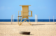 Lifeguard Tower On Beach Sand ...