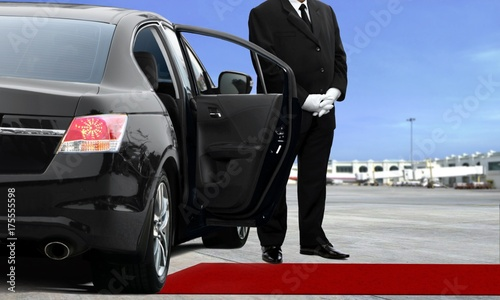 Limo driver waiting at the airport Tableau sur Toile
