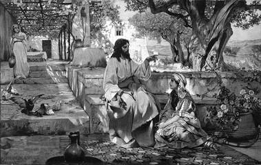 Fototapeta Do kościoła Christ with Maria and Martha