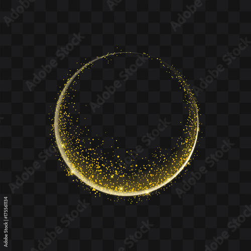Cuadros en Lienzo Gold glittering trail sparkling stardust abstract particles on background