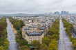 Paris, panorama from Arc de Triomphe, buildings, avenues and la Defense in background