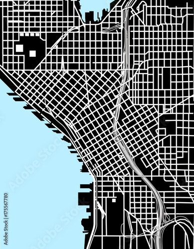 Canvas Print Seattle black and white vector map