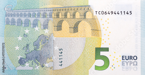 Five euro banknote, back side. Canvas Print
