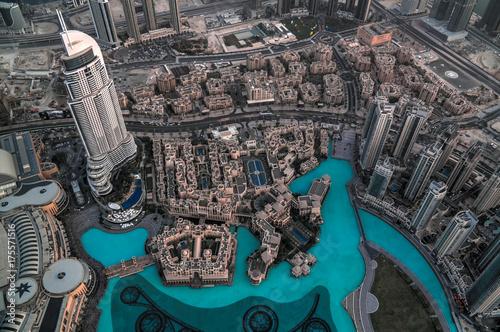 Fototapeta Panorama zmierzchu widok Dubaj drapacze chmur w UAE