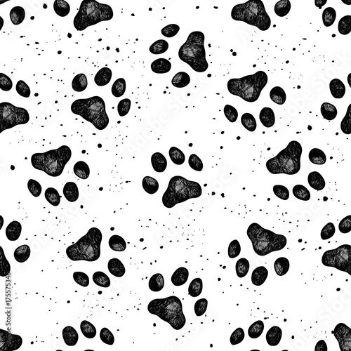 fototapeta na drzwi i meble Paw of dog print vector Vexture