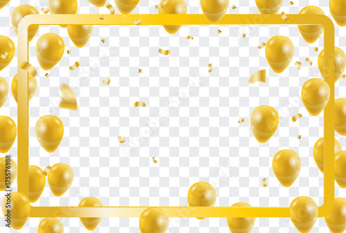 celebration party gold balloons confetti for party invitation