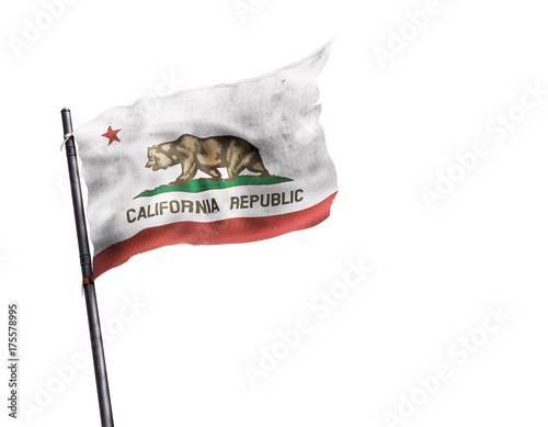Fotografie, Obraz  Drapeau de Californie (USA) sur fond blanc