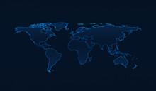 Light Blue World Map On Dark B...