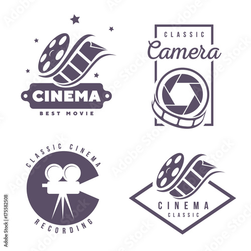 Obraz na plátně  cinema labels emblem logo design element isolated on white background