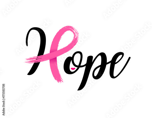 Spoed Foto op Canvas Positive Typography Hope lettering design with Pink ribbon, Brush style for poster, banner and t-shirt. Breast cancer awareness concept. Illustration isolated on white background.