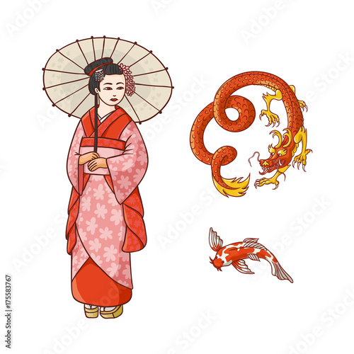 985bb4f0b4f47 Asian japan, china oriental symbols concept set. Red dragon without wings,  traditional koi carp, geisha woman with folding paper umbrella.