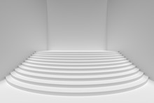White Round Stairs In Empty Wh...