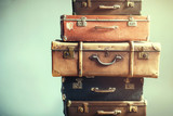 Vintage Ancient Luggage Suitcases Ancient Shabby - 175590141
