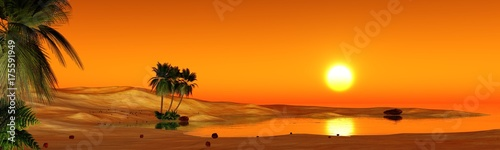 Stickers pour porte Orange eclat oasis in the sandy desert, sunset over the sands with palm trees and a lake