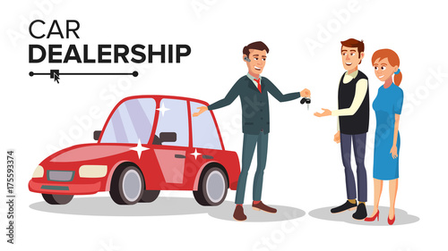 Car Dealer Vector. Car Dealership Agent. Auto Selling Concept. Isolated Flat Cartoon Character Illustration