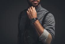 Young Man Scratching Beard