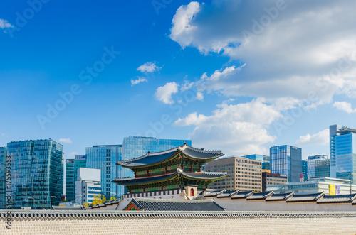 Photo sur Aluminium Seoul Seoul City at Gyeongbokgung,Seoul Korea.