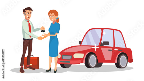 Staande foto Cartoon cars Car Dealer Salesperson Vector. Choosing New Machine Concept. Seller Man. Cartoon Business Character Illustration