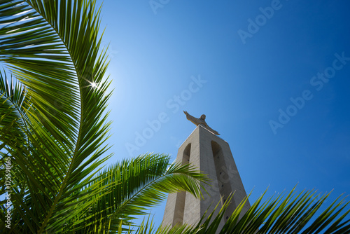 Christ the King Statue through green palm leaf at clear summer sunny day in Lisb Wallpaper Mural