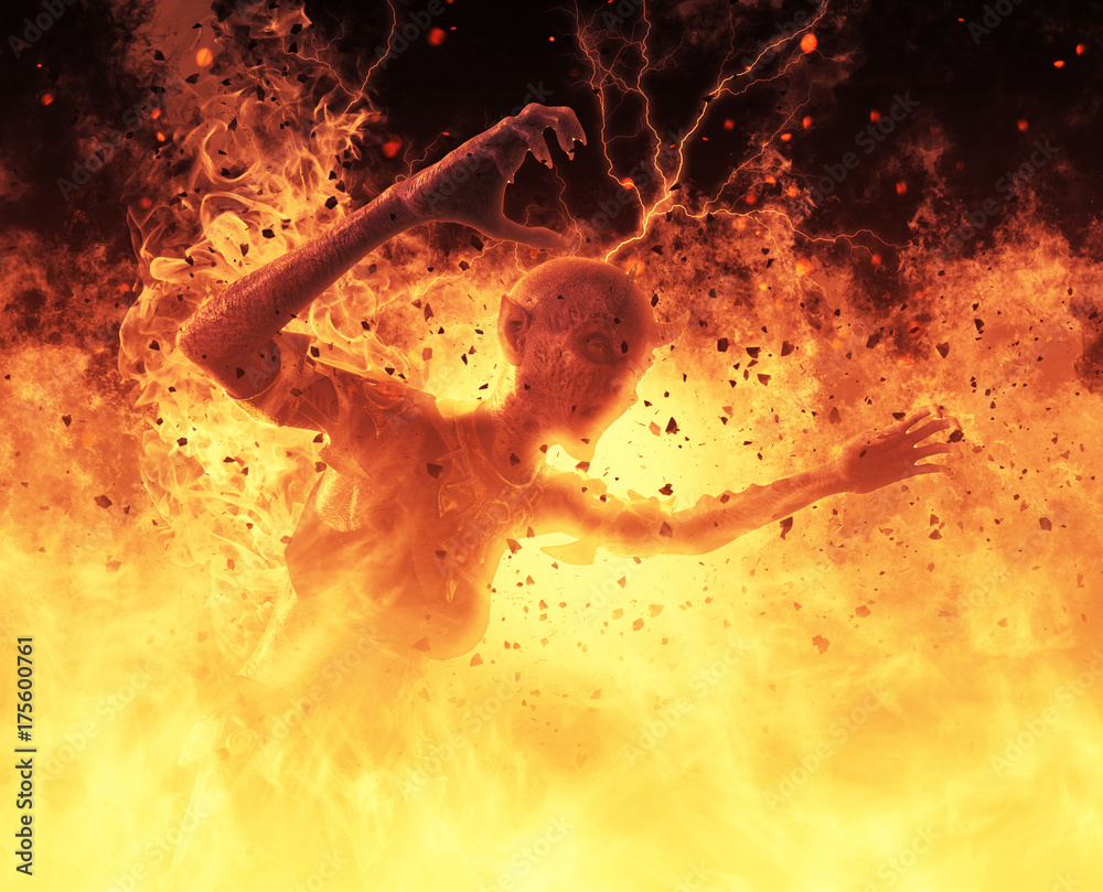 Demon woman burns in a hellfire 3d illustration