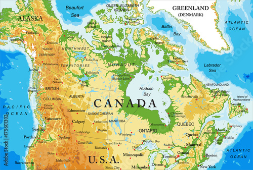 Map Of Canada Vancouver To Calgary.Physical Map Of Canada Buy This Stock Vector And Explore Similar