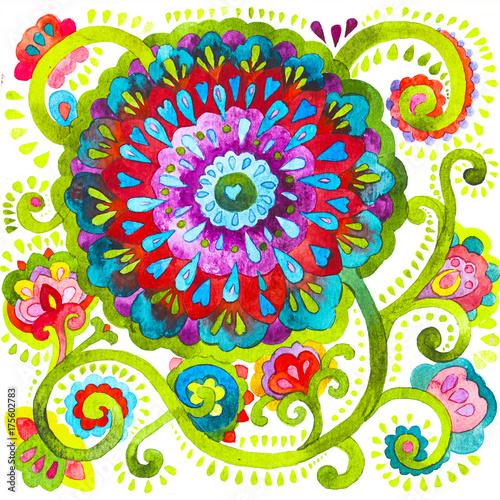 fototapeta na drzwi i meble acquerello fiori ornamento