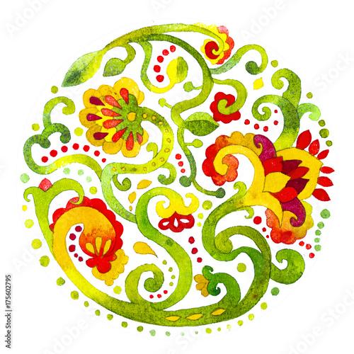 obraz PCV acquerello fiori ornamento