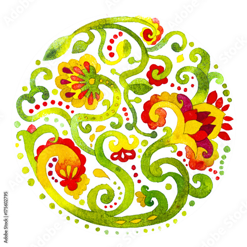 fototapeta na lodówkę acquerello fiori ornamento