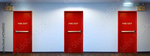 Fotografija Emergency fire exit door red color.