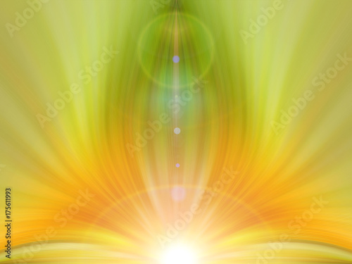 Abstract green and orange background for text: yoga, glow