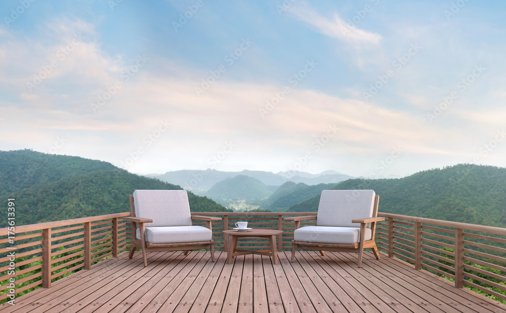 Fototapety, obrazy: Wood balcony with mountain view 3d rendering image. There are wood floor.Furnished with fabric and wooden furniture. There are wooden railing overlooking the surrounding nature and mountain