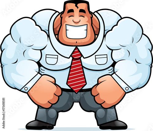 Keuken foto achterwand Superheroes Cartoon Muscular Businessman