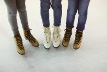 Three Girl Friends Ready To Go Ice Skating