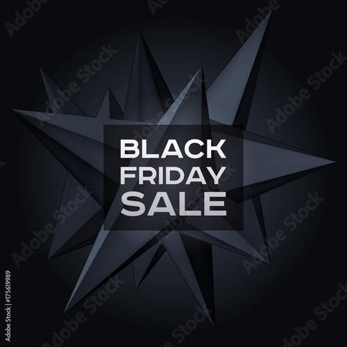 Plakat Czarny piątek sprzedaż. Wielkość geometryczny kształt, lewitacja czarny kryształ 3d, ciemny obiekt kreatywnych niskiej wielokątów, formularz projekt wektor dla Ciebie projektów biznesowych