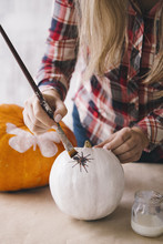 Woman Painting White Pumpkin W...