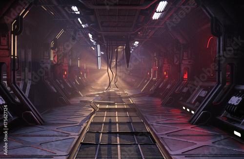 Sci-Fi grunge damaged metallic corridor background illuminated with neon lights Canvas Print