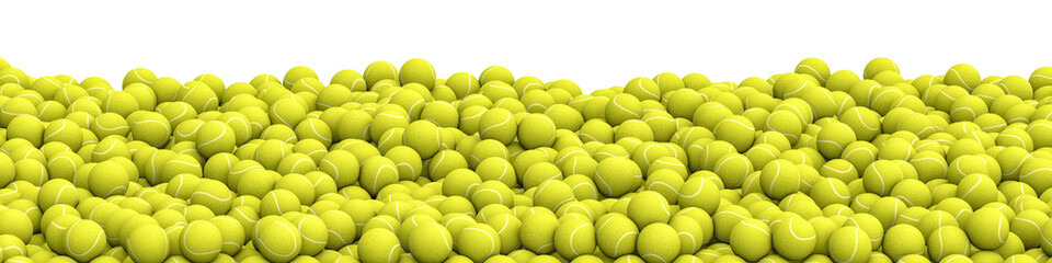 Fototapeta Tennis balls pile panorama / 3D illustration of panoramic view of hundreds of tennis balls