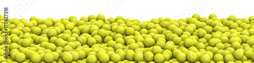 Fotobehang Bol Tennis balls pile panorama / 3D illustration of panoramic view of hundreds of tennis balls