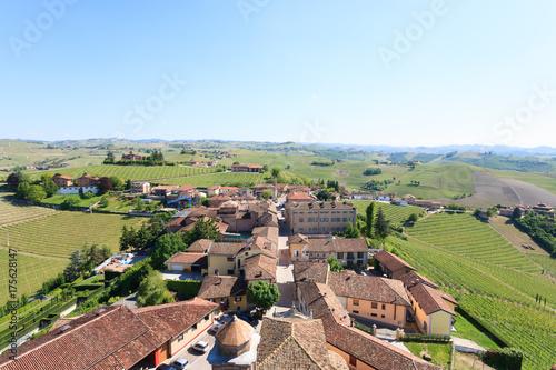 Barbaresco town aerial view, Langhe, Italy Wallpaper Mural
