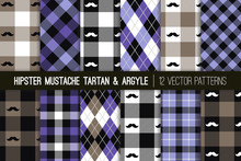Hipster Mustache Tartan Plaid And Argyle Vector Patterns In Purple, Blue, Gray And Black. Men's Health Awareness Month. Barbershop Style. Father's Day Backgrounds. Pattern Tile Swatches Included.