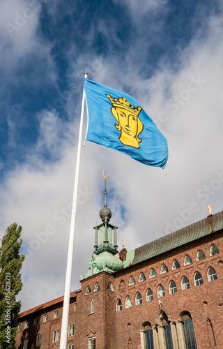 Plakat Cegła budował urząd miasta w Sztokholm Szwecja