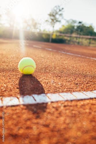 Obraz na plátne  Close up of tennis clay court